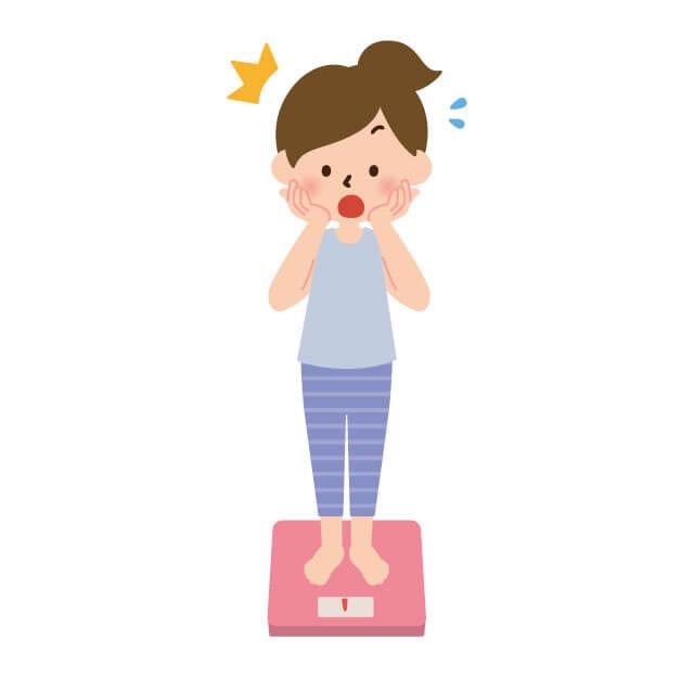 体重計に乗って驚いている女性イラスト