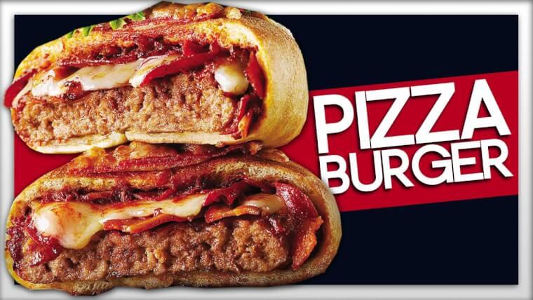 ハンバーグをピザで包んだその名も「BURGER INSIDE A PIZZA」