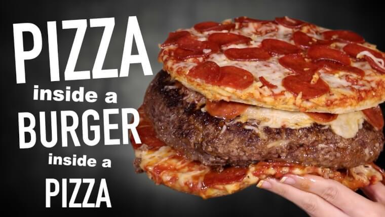 ピザをハンバーグで包み、更にピザで挟んだその名も「PIZZA INSIDE A BURGER INSIDE A PIZZA」
